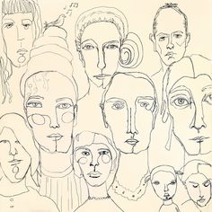 Robin Laws - ink one-line drawings The Team