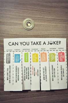 Jokes for kids to hang it on the door. We did this as a morning surprise for kids before school.