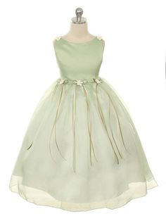 Sage Elegant Satin Bodice Flower Girl Dress (Sizes Infants-14 in 12 Colors)