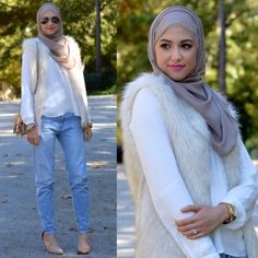 fur vest with white blouse, Winter hijab street styles by leena Asaad http://www.justtrendygirls.com/winter-hijab-street-styles-by-leena-asaad/