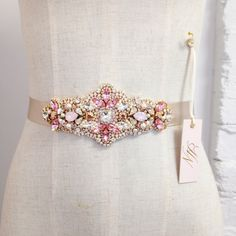 Swarovski Rose Gold and Blush Crystal Bridal Belt- Pink Swarovski Crystal Bridal Sash- Rose Gold Bridal Sash Embroidery Flowers Pattern, Beaded Embroidery, Flower Patterns, Bride Belt, Bridal Sash Belt, Crystal Wedding Dresses, Wedding Flowers, Wedding Belts, Embroidery Fashion