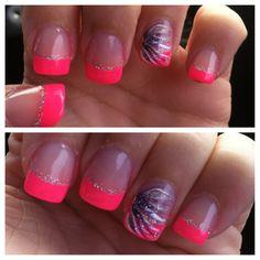 Love nails, gorgeous nails, pretty nails, fun nails, silver and pink nails Cute Pink Nails, Bright Nails, Love Nails, How To Do Nails, Fun Nails, Pink Tip Nails, White Nails, Bright Pink, Bright Colors