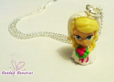 Barbie Necklace Silver Chain Barbie Charm Pink by SBeadedbeauties, £5.00