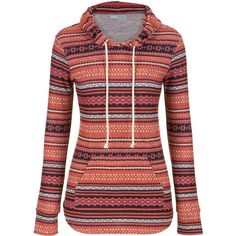 maurices Hooded Pullover In Ethnic Print ($32) ❤ liked on Polyvore featuring tops, hoodies, jackets, sweaters, multi, red hoodies, plus size hoodie, hooded sweatshirt, red hooded sweatshirt and women's plus size hoodies