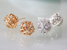 SALE Gold Stud Earrings or Silver Stud  Earrings by deezignstudio