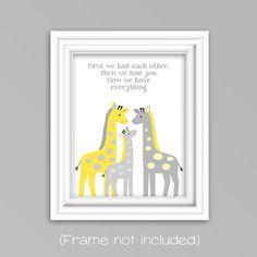 First We Had Each Other Giraffe Nursery Decor, Gender Neutral, Gray and Yellow Jungle Nursery Art Nursery Poem, Giraffe Nursery, Jungle Nursery, Nursery Prints, Nursery Art, Nursery Decor, Nursery Quotes, Yellow Nursery, Nursery Neutral