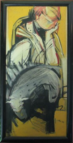 Fran & Piggy - Oil on Canvas x circa Education Degree, Art Education, Blue Mountain, 1980s, Oil On Canvas, Original Artwork, Fine Art, Artist, Painting
