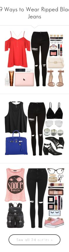 """""""19 Ways to Wear Ripped Black Jeans"""" by polyvore-editorial ❤ liked on Polyvore featuring waystowear, rippedblackjeans, Topshop, Gianvito Rossi, Maison Margiela, LE VIAN, MAC Cosmetics, Clarins, NARS Cosmetics and Trish McEvoy"""