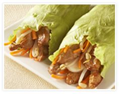 Teriyaki Pork Lettuce Wraps from La Choy.I would swap the pork for chicken, but it looks good. Pork Wraps, Pork Lettuce Wraps, Lettuce Wrap Recipes, Pork Recipes, Asian Recipes, Cooking Recipes, Healthy Recipes, Ethnic Recipes, Fall Recipes