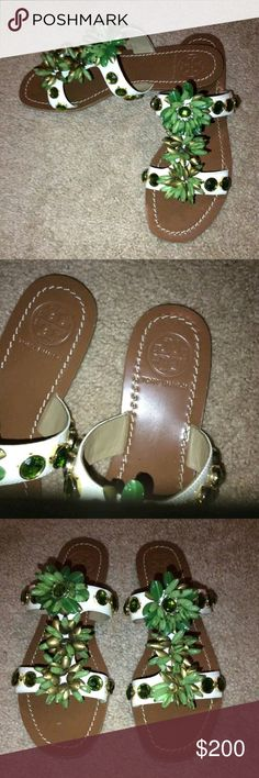 *RARE* Tory burch sydney beaded sandals size 8.5 100 percent authentic new tory burch sydney beaded leather sandals. These shoes retail 295 plus tax. The size of the shoes are an 8.5 The color is white with green and gold beading. Will come with dustbag but no box.  Sorry no trades! Will ship same or next day. Will accept reasonable offers, PLEASE DO NOT SEND LOWBALL OFFERS! ! Tory Burch Shoes Sandals