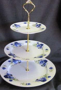 3 Tier Summertime Blue Bone China Cake Stand