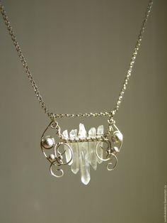 Купить Подвеска с кристаллами кварца - кристаллы камней, нейзильбер, натуральные камни, кварц натуральный