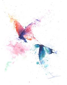 BUTTERFLY PAINTING abstract butterfly watercolor by SignedSweet
