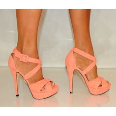 Koi Couture Ladies J5 Coral Strappy High Heels. I want these so bad!!
