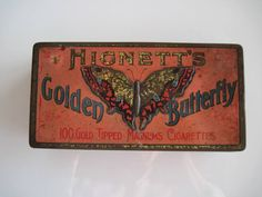 Excited to share the latest addition to my #etsy shop: Hignett's Golden Butterfly Tipped Gold Magnum cigarrette tin (100/empty) c.1900 http://etsy.me/2CjBqRP #vintage #collectables #cigarettetin #tobaccocollectibles