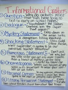 good hooks for informational writing - anchor chart by olive