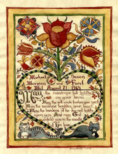 PA German Fraktur German Folk, Pennsylvania Dutch, Medieval Paintings, Art Populaire, Art Through The Ages, Arts And Crafts Movement, Old Things, Art Forms, Naive Art