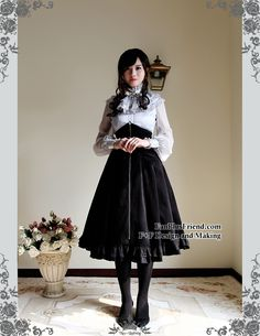fanplusfriend - Silence Lonely, Elegant Gothic Puffy Sleeves Real Silk Blouse & Choker Jabot*2colors Instant Shipping (http://www.fanplusfriend.com/silence-lonely-elegant-gothic-puffy-sleeves-real-silk-blouse-choker-jabot-2colors-instant-shipping/)