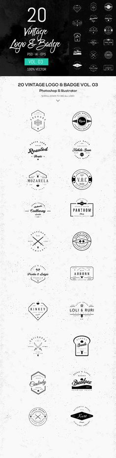 20 #FREE #Vintage #logo templates is 100% #vector shape. Fully Editable and resize without losing quality. They perfect for your project or your #client.