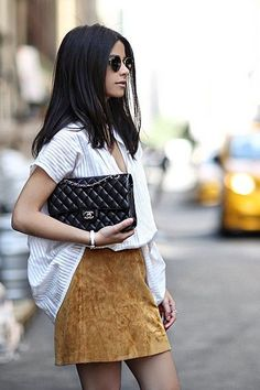Chanel Bag and Suede Skirt