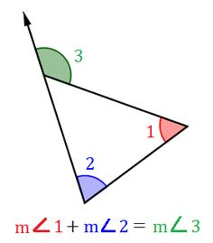 Properties of interior angles of a tri and non adjacent exterior angles