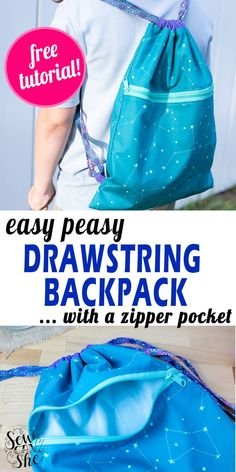Made easy, this cute drawstring backpack has a zipper pocket that's large as the main compartment of the bag. This handy bag can hold anything you might want to grab easily. Learn to sew this easy peasy drawstring backpack by checking out this free tutorial. #backpack #drawstring #drawstringbackpack #easysewing #freesewingtutorial Mini Quilt Patterns, Sewing Patterns Free, Free Sewing, Sewing Kits, Drawstring Backpack Tutorial, Zipper Face, Hand Sewing Projects, Pouch Tutorial, Crochet Girls