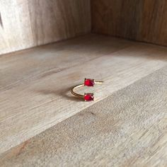 Double ring with red stones by HurremSultanJewelry on Etsy