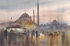 Istanbul, Turkey XV by Keiko Tanabe Watercolor ~ 14 1/4 x 21 1/2 inches (54.5 x 36 cm)