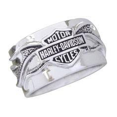 Sterling Silver Harley-Davidson Men's Night Flame Ring…