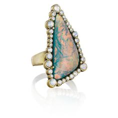 Bora Bora Statement Ring - $42 Clear + White Opal crystal...Opalescent resin...Size 6 - 8...Antique brass plated