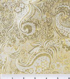 JoAnn Fabrics - Brocade Fabric-Gold Metallic Paisley , , hi-res Paisley Fabric, Gold Fabric, Brocade Fabric, Paisley Print, Decoupage, First Sewing Projects, Diamonds In The Sky, Online Craft Store, Joann Fabrics