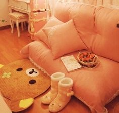 Pink room featuring rilakkuma rug and cute pink colors.