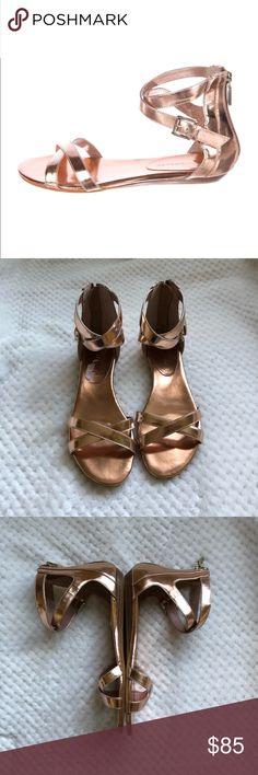 REBECCA MINKOFF Rose Gold Flat Gladiator Sandal 8 Like new condition. Gorgeous rose gold flat sandal with ankle strap. Rebecca Minkoff Bettina Rose Gold 8 Rebecca Minkoff Shoes Sandals