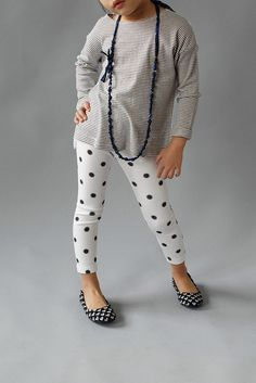 These polka dot leggings are so cute paired with a striped tunic and heart ballet flats / shoes!