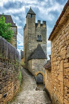 A Narrow Road to Château de Beynac, France. Considered to be one of the most beautiful medieval castles in France.