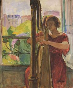 Henri Lebasque - Harpist in front of the Window, 1921