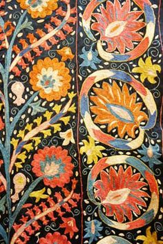 Suzani silk embroidered cloth from Uzbekistan.