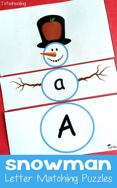 Snowman Letter Matching Puzzles. Fun way to practice upper and lowercase letters.