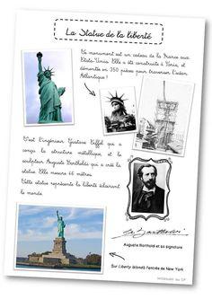 Fiches sur New York et la Statue de la Liberté French Teacher, French Class, French Lessons, Teaching French, Teaching English, History Memes, Art History, Learn French, Learn English