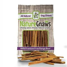"Nature Gnaws Extra Thin Bully Sticks 5-6"" (25 Pack) - 100% All-Natural Grass-Fed Free-Range Premium Beef Dog Chews - We don't make our dog chews. Nature does. Nature Gnaws comes from grass fed, free-range, all-natural beef. That's it. No added flavors or preservatives. Like you, we love our dogs. They've licked the tears off our cheeks during moments of crisis, and bounded carelessly after a favorite toy moment..."