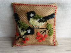 Vintage Swedish Embroidered Pillow with Birds by VintagePearlHunt