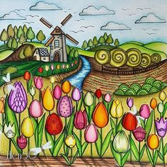 From dark and scary to fresh and happy … - ART Drawing Cartoon Kunst, Cartoon Art, Drawing Projects, Art Projects, Caran D'ache, Arte Country, Flower Doodles, Naive Art, Whimsical Art