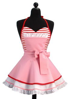 """Pin Up Sexy """"Hi Kitty"""" Double Skirt Sweetheart Neckline Full Apron LIMITED EDITION. $56.95, via Etsy."""