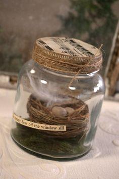 Nest in Jar Assemblage - bird's nest-eggs-assemblage-altered art * DIY inspiration