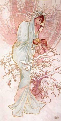 Winter - Alphonse Mucha  (my favorite artist - creator of Art Nouveau movement)