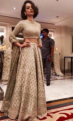 Wedding guest style - Sangeet - Kangana Ranaut in an Ivory embellished…