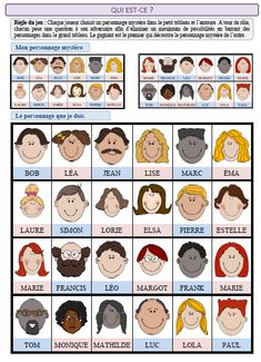 """French game of """"Who is it"""" Also good pictures to teach family relationship words. French Teaching Resources, English Activities, Teaching French, Teaching English, French Lessons, English Lessons, English Class, Diy With Kids, French Adjectives"""