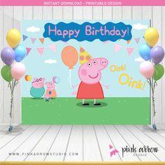 Peppa pig cumpleaños Telón de fondo de Peppa por PinkArrowStudio