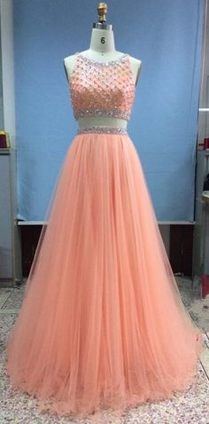 Pretty Tulle Long Beadings Two Pieces Light Coral Prom Gown