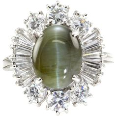 Cat's Eye Chrysoberyl Cabochon & Diamond Ballerina Ring 18K White Gold